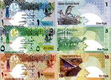 QATAR - Lotto 3 banconote 1/5/10 Riyals FDS - UNC