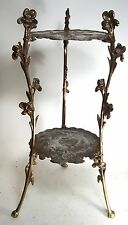 Vintage Art Nouveau Style Brass Finish 2-Tier Plant Stand - Lamp Table