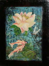FISHES VINTAGE FLORAL OIL PAINTING SIGNED