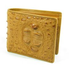 REAL Light Brown Crocodile Alligator Leather Horn Back Skin Mens Bi-fold Wallet