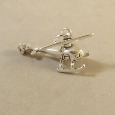 .925 Sterling Silver 3-D HELICOPTER Charm NEW Pendant Chopper Plane 925 VH51
