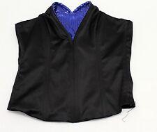 Damen Korsett Korsagen-Top Schwarz Blau Pailletten Herz-Ausschnitt Gr. 34 NEU
