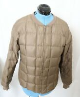 Eddie Bauer Vintage Taupe Quilted Goose Down Puffer Full-Zip Jacket USA Womens L