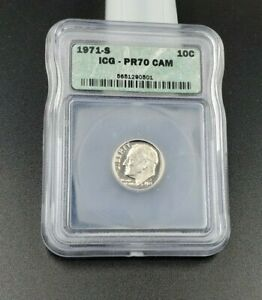 1971 S Roosevelt Dime Coin PR70 Cam Cameo ICG Gem Proof Nice Coin
