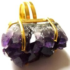 AMETHYST RING REAL BRAZILIAN RAW UNCUT GEMSTONE GOLD PLATED ADJUSTABLE ALL SIZES