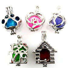 Heart Kitten Cat Pearl Cage - Dog Puppy Beads Cage Locket Pendant Charms