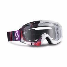 Maschera Scott Hustle Mx Goggles Bianco Pixel White Purple Clear Cross Enduro