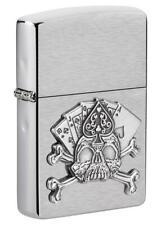 A Prueba De Viento Encendedor Emblema Zippo con Royal Flush & cráneo, 49293, Nuevo En Caja