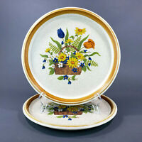 Vintage Mikasa Stone Manor Dinner Plates Garden Bouquet F5815 Japan Lot of 2