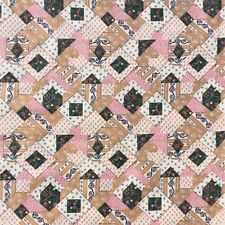 Vintage Cotton Craft Sewing Fabric Faux Patch Geometric Floral Quilting