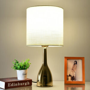 Modern Bedside Table Lamp Desk Light Fabric Shade with LED Bulb