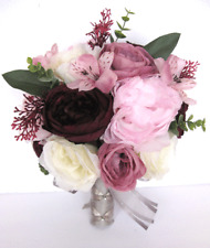 17 piece Wedding Bouquet package Bridal Silk Flowers PINK MAUVE EGGPLANT SILVER