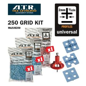 ATR TILE LEVELING SYSTEM Qty250 PIECE 2mm UNIVERSAL KIT100 Cross-100-Edge-50spin