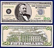 1-$50.00 Casino Party Money Dollar Bill Collectible-Poker-Novelty- USA -ITEM U1