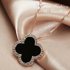 18K Rose Gold GP Simulated Agate & Diamond Stylish Black 4 Leaf Clover Necklace
