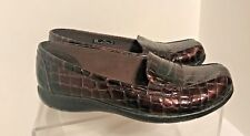 New Clarks Bendables Brown Croco Leather Loafers Ladies Shoes 6 Wide