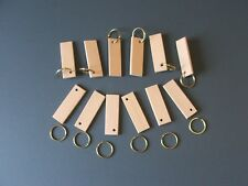 KEYRING BLANKS-BEECH-BRASS RINGS-PYROGRAPHY-HAND MADE-£4-99 FOR 12-POST FREE