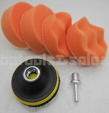 "7 Pc 3"" Polishing Sponge Pad 1/4"" Drill Adapter Kit for Car Auto Polisher Buffer"