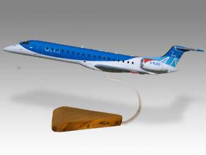 Embraer 145 BMI Regional Solid Kiln Dry Wood Replica Airplane Desktop Model