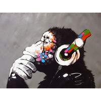 """NEW Canvas 24""""x36"""" in. Banksy Street Art Print DJ Monkey chimp Painting Picture"""