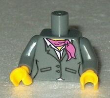 TORSO F003 Lego Female Dark Bluish Gray Suit w/Pink Shirt & Scarf NEW