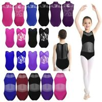 Girls Gymnastics Jumpsuits Ballet Leotards Lace Back Kids Performance Dancewear