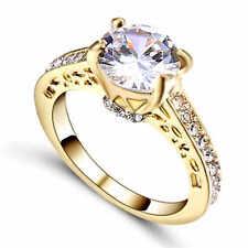 Gorgeous&Fashion White Sapphire yellow 10K Gold Filled Ring Size 7