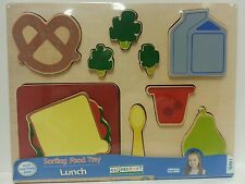 Guidecraft-Kids Sorting Food Tray- Lunch- Wood Puzzle Learning Toy NEW-Sealed