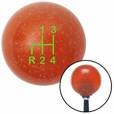Green Shift Pattern 4n Orange Metal Flake Shift Knob with M16x1.5 insert ratrod