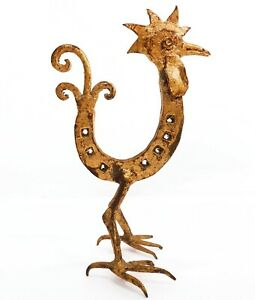MID-20TH C HOLLYWOOD REGENCY ITALY VINT GILT ROOSTER IRON HORSESHOE SCULPTURE