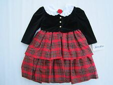 NWT Girl's Red Plaid Dress [ 4T ] Boutique Portrait Holiday Crinoline Skirt