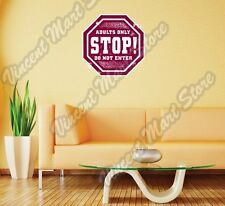 "Adults Only Stop Don't Enter Grunge Wall Sticker Room Interior Decor 22""X22"""