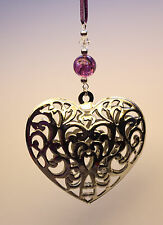 Christmas Tree Ornament Decoration LARGE Silver Heart made with Swarovski Crysta