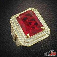 14k Gold Finish .925 Silver Simulated Red Ruby Mens Ring Size 9 Hip Hop