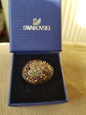 Genuine Swarovski Black Plastic Ring Brown, Gold & Silver Crystals Size 58 Boxed