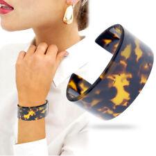 Tortoise Shell Acrylic Open Wide Bracelet Bangle Cuff Vintage Leopard West Boho