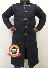 Medieval Viking thick padded Black Gambeson With Removable Sleeves Jacket pc102