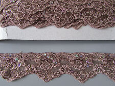 Light Brown Lace Sequin & Beaded Trim 1 Metre   Sewing/Costume/Crafts/Goth