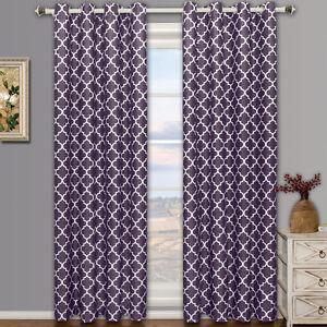 Set of 2 Meridian Grommet Room Darkening Lined Thermal Window Curtain Panels