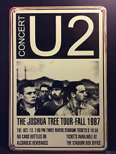 U2 CONCERT POSTER 1987  VINTAGE RETRO STYLE METAL SIGN  20X30 CM IRISH ROCK BAND