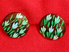 Flowered Button Clip On Earrings
