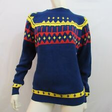 Vintage 70s Sweater L Blue Geometric Red Yellow Crew Neck Long Sleeve