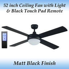 Genesis 52 inch Matt Black Ceiling Fan with Light + Black Touch Pad Remote
