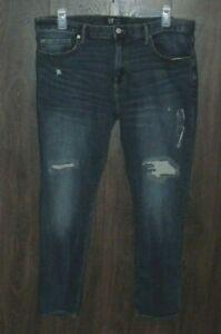 NWT Gap Flex Skinny Jeans SIZE 38x32 Distressed Medium/Dark 1% Elastane
