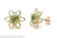 9ct Gold Peridot Studs Flower Earrings Made in UK Gift Boxed Birthday Gift