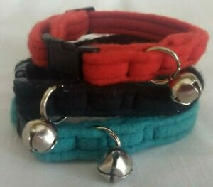 Custom Made Fleece Cat Collar Soft Cat Collar Multiple Colors To Choose From