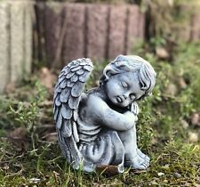Steinfigur sitzender Engel Gartenfigur frostfest wetterfest sitzend Grabschmuck