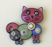 Adorable  artistic  Cat Brooch Pin  enamel on Metal
