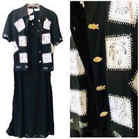 Country Wear Lonnie G Star Size Med Maxi Black Dress W/ Jacket Fish Starfish