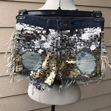 DIY by Panida Sequins Fringe Jean Denim Shorts Upcycled Women's 27 but fits 26